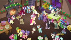 Size: 1920x1080   Tagged: safe, screencap, baroque cloak, bonnie rose, carrot top, dj pon-3, evening stroll, featherweight, flutterholly, fluttershy, golden harvest, lyra heartstrings, merry, octavia melody, paraviolet, pinkie pie, rainbow dash, snowdash, sooty sweeps, spirit of hearth's warming presents, vinyl scratch, earth pony, pegasus, pony, unicorn, a hearth's warming tail, animation error, clothes, colt, discovery family logo, female, foal, gramophone, james moriarty, john watson, male, mare, phonograph, ponies talking to each other, sherlock holmes, stallion, victrola scratch, wax cylinder