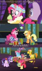Size: 1280x2160 | Tagged: a hearth's warming tail, apple bloom, applejack, carrot cake, cupcake, discovery family logo, food, implied applepie, pinkie pie, safe, screencap, shipper on deck, snowfall frost, spirit of hearth's warming presents, starlight glimmer