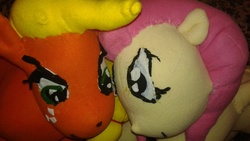 Size: 2048x1152 | Tagged: safe, artist:ponylover88, applejack, fluttershy, irl, photo, plushie