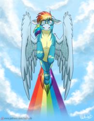 Size: 900x1157 | Tagged: safe, artist:inuhoshi-to-darkpen, rainbow dash, newbie dash, clothes, female, flying, patreon, patreon logo, rainbow trail, solo, wonderbolts, wonderbolts uniform