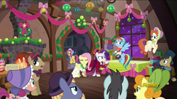 Size: 1920x1080 | Tagged: safe, screencap, bonnie rose, bow bonnet, buttercake blush, carrot top, doctor whooves, flutterholly, fluttershy, golden harvest, merry, neon lights, rainbow dash, rarity, rising star, rising yeast, snowdash, time turner, pony, a hearth's warming tail, background pony, booing, discovery family logo, unnamed pony
