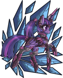 Size: 873x1071 | Tagged: safe, artist:raptor007, twilight sparkle, alternate hairstyle, armor, ponytail, solo, twilight sparkle (alicorn)