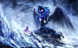 Size: 3000x1865 | Tagged: safe, artist:nemo2d, princess luna, snowfall frost, spirit of hearth's warming yet to come, starlight glimmer, alicorn, pony, a hearth's warming tail, clothes, duo, epic, scene interpretation, snow, spread wings