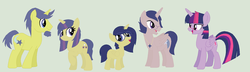 Size: 1024x294 | Tagged: safe, artist:aquadusk, comet tail, twilight sparkle, oc, oc:elliot, oc:ophelia, oc:urania, alicorn, pony, cometlight, female, male, mare, offspring, parent:comet tail, parent:twilight sparkle, parents:cometlight, shipping, straight, twilight sparkle (alicorn)