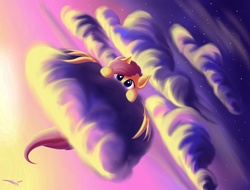 Size: 2048x1556 | Tagged: safe, artist:freeedon, fluttershy, cloud, cute, female, hiding, looking at you, peeking, shy, shyabetes, sky, solo, spread wings, stars, sunset, wing hands