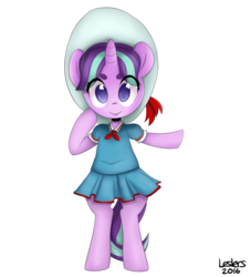 Size: 1500x1650   Tagged: safe, artist:leslers, snowfall frost, starlight glimmer, pony, a hearth's warming tail, bipedal, clothes, female, filly, filly starlight glimmer, school uniform, younger