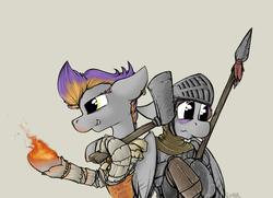 Size: 842x610 | Tagged: safe, artist:sinrar, oc, oc:sinrar, oc:sizzle, axe, crossover, dark souls, fantasy class, fire, knight, pyromancer, spear, warrior, weapon