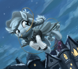 Size: 1037x921 | Tagged: safe, artist:bakuel, applejack, snowfall frost, spirit of hearth's warming past, starlight glimmer, pony, a hearth's warming tail, clothes, cowboy hat, duo, female, ghost applejack, hat, lasso, mare, mouth hold, night sky, rope, scene interpretation, stars, stetson, top hat