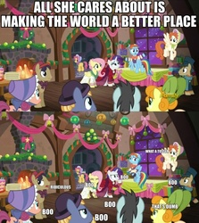 Size: 856x959   Tagged: safe, edit, edited screencap, screencap, bonnie rose, bow bonnet, buttercake blush, carrot top, doctor whooves, flutterholly, fluttershy, golden harvest, merry, neon lights, rainbow dash, rarity, rising star, rising yeast, snowdash, time turner, pony, a hearth's warming tail, background pony, booing, discovery family logo, image macro, impact font, meme, party, present, unnamed pony