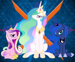 Size: 2557x2104 | Tagged: alicorn triarchy, artist:laszlvfx, cadance is not amused, celestia is not amused, edit, princess cadance, princess celestia, princess luna, princess luna is not amused, safe, unamused, wallpaper, wallpaper edit