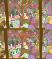 Size: 1920x2160   Tagged: safe, screencap, baroque cloak, bon bon, bonnie rose, buttercake blush, evening stroll, flutterholly, fluttershy, lyra heartstrings, merry, octavia melody, paraviolet, pinkie pie, rainbow dash, rarity, rising yeast, snowdash, snowfall frost, spirit of hearth's warming presents, starlight glimmer, sweetie drops, pony, a hearth's warming tail, animation error, background pony, eagle eye, looking through the window, unnamed pony, window