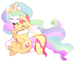 Size: 1208x1006 | Tagged: dead source, safe, artist:ssapphic, princess celestia, sunset shimmer, alicorn, pony, unicorn, blushing, crying, cute, cutelestia, eyes closed, floppy ears, forgiveness, hug, momlestia fuel, shimmerbetes, smiling, ssapphic is trying to murder us, tears of joy