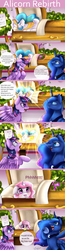 Size: 900x3469 | Tagged: safe, artist:pridark, princess celestia, princess luna, twilight sparkle, alicorn, pony, :p, angry, bipedal, blushing, cewestia, coffin, comic, crying, cute, cutelestia, eating, everything went better than expected, eyes closed, female, filly, floppy ears, flower, funeral, glare, glow, headcanon, horses doing horse things, huzzah, levitation, magic, mare, nom, onomatopoeia, open mouth, pink-mane celestia, raspberry, raspberry noise, rebirth, regeneration, reincarnation, rest in peace, shocked, smiling, spread wings, telekinesis, tongue out, twilight sparkle (alicorn), wide eyes