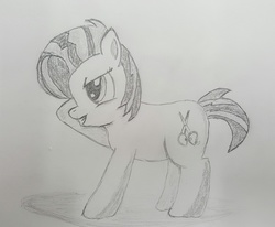 Size: 2462x2031   Tagged: safe, artist:darelith, babs seed, cutie mark, female, monochrome, pencil drawing, raised hoof, sketch, solo, traditional art
