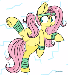 Size: 657x719 | Tagged: safe, artist:tokipeach, fluttershy, active stretch, belly button, flexible, jazzercise, jazzershy, ponytail, solo, workout, workout outfit