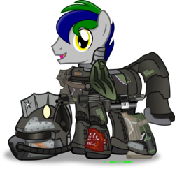 Size: 3099x3006 | Tagged: safe, artist:vector-brony, oc, oc only, oc:right away, fallout equestria: changing gears, armor, commission, damaged, fallout, grenade launcher, helmet, minigun, power armor, powered exoskeleton, simple background, solo, transparent background, vector