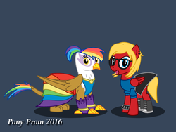 Size: 800x600 | Tagged: safe, artist:d-azulrgb, oc, oc only, oc:katie jay ewing, oc:rainbow feather, griffon, clothes, dress, female, filly, glasses, interspecies offspring, magical lesbian spawn, offspring, parent:gilda, parent:rainbow dash, parents:gildash, pony prom, prom, simple background