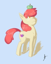 Size: 5526x7000 | Tagged: safe, artist:double-zr-tap, apple bloom, absurd resolution, apple, balancing, cutie mark, female, food, simple background, solo, the cmc's cutie marks