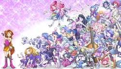 Size: 2000x1147 | Tagged: safe, artist:ddd1983, adagio dazzle, apple bloom, applejack, aria blaze, blueberry pie, bon bon, bulk biceps, derpy hooves, diamond tiara, dj pon-3, flash sentry, fluttershy, fuchsia blush, lavender lace, lyra heartstrings, octavia melody, photo finish, pinkie pie, pixel pizazz, princess celestia, princess luna, rainbow dash, rarity, raspberry fluff, scootaloo, silver spoon, snails, snips, sonata dusk, spike, sunset shimmer, sweetie belle, sweetie drops, trixie, twilight sparkle, vinyl scratch, violet blurr, dog, equestria girls, rainbow rocks, :t, armpits, background human, best human, bracelet, clothes, cutie mark crusaders, discussion in the comments, dj snazzy snails, female, flying, grin, gritted teeth, humane five, humane six, mc snips, on back, on side, open mouth, ponied up, principal celestia, prone, running, skirt, sleeveless, smiling, spike the dog, sunset shimmer gets all the mares, tanktop, the dazzlings, the muffins, the rainbooms, the snapshots, trixie and the illusions, twilight sparkle (alicorn), vice principal luna, walking, wall of tags, wide eyes, wink, wristband