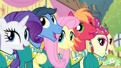 Size: 1280x720   Tagged: safe, screencap, big macintosh, fluttershy, rarity, toe-tapper, torch song, earth pony, pony, filli vanilli, male, ponytones, stallion