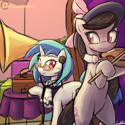 Size: 750x750 | Tagged: a hearth's warming tail, artist:lumineko, bipedal, dj pon-3, hat, octavia melody, patreon, patreon logo, pony, safe, smiling, victrola scratch, vinyl scratch, violin
