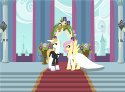 Size: 1024x748 | Tagged: artist:theroyalartofna, blueshy, canterlot, female, fluttershy, male, marriage, prince blueblood, safe, shipping, straight, wedding