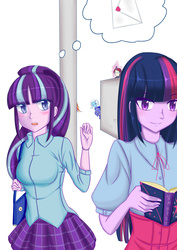 Size: 2480x3507 | Tagged: safe, artist:窄门3o3, moondancer, starlight glimmer, sunset shimmer, trixie, twilight sparkle, equestria girls, blushing, book, clothes, counterparts, female, jealous, lesbian, magical quintet, notice me senpai, pixiv, reading, shipping, skirt, spying, stalker, stalking, sunsetsparkle, thought bubble, twidancer, twilight sparkle gets all the mares, twilight's counterparts, twistarlight, twixie, twixstarsetdancer, yandancer, yandere