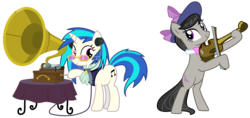 Size: 4447x2106 | Tagged: absurd res, a hearth's warming tail, artist:sketchmcreations, bipedal, bowtie, cutie mark, dj pon-3, earth pony, female, glasses, hat, hooves, horn, inkscape, mare, octavia melody, phonograph, pony, safe, simple background, smiling, sunglasses, transparent background, unicorn, vector, victrola scratch, vinyl scratch, violin