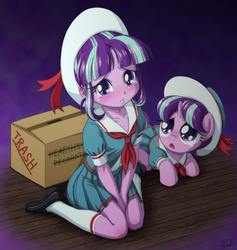 Size: 1000x1054 | Tagged: safe, artist:uotapo, snowfall frost, starlight glimmer, a hearth's warming tail, equestria girls, box, cardboard box, clothes, colored pupils, crying, cute, equestria girls-ified, female, filly, filly starlight glimmer, glimmerbetes, hat, human ponidox, kneeling, looking at you, prone, sad, self paradox, shirt, shoes, skirt, socks, solo, sweet dreams fuel, uotapo is trying to murder us, uotapo will kill us all, weapons-grade cute, younger