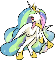 Size: 5781x6265 | Tagged: safe, artist:greenpidge, princess celestia, alicorn, pony, absurd resolution, female, hoers, horses doing horse things, majestic as fuck, mare, neigh, open mouth, rearing, sillestia, silly, simple background, solo, spread wings, tongue out, transparent background, wat