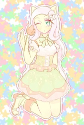 Size: 532x785 | Tagged: safe, artist:nemucure, fluttershy, anthro, clothes, dress, female, solo