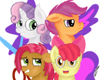 Size: 900x700 | Tagged: apple bloom, artist:jbond, babs seed, cutie mark, cutie mark crusaders, portrait, safe, scootaloo, simple background, sweetie belle, the cmc's cutie marks, white background