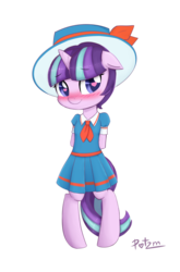 Size: 2900x4400 | Tagged: safe, artist:potzm, snowfall frost, starlight glimmer, pony, unicorn, absurd resolution, bipedal, blushing, clothes, cute, female, filly, filly starlight glimmer, floppy ears, glimmerbetes, hat, heart eyes, smiling, wingding eyes, younger