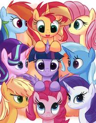 Size: 837x1067 | Tagged: safe, artist:molochko-persik, applejack, fluttershy, pinkie pie, rainbow dash, rarity, starlight glimmer, sunset shimmer, trixie, twilight sparkle, alicorn, earth pony, pegasus, pony, unicorn, alternate mane seven, counterparts, magical quartet, magical quintet, magical trio, mane nine, mane six, twilight sparkle (alicorn), twilight's counterparts