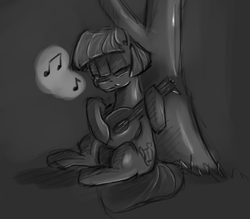 Size: 1089x955 | Tagged: safe, artist:post-it, coco pommel, alternate universe, bard, cocoa cantle, colored sketch, fantasy class, grayscale, lute, monochrome, musical instrument, rule 63, singing, sketch, smiling, solo, sword rara, tree