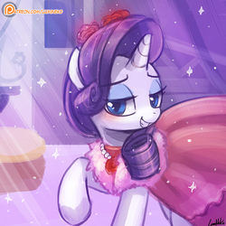 Size: 750x750 | Tagged: dead source, safe, artist:lumineko, rarity, pony, unicorn, no second prances, bedroom eyes, clothes, dress, female, mare, patreon, patreon logo, smiling, solo