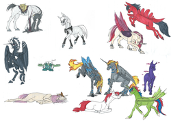 Size: 4000x2833 | Tagged: safe, artist:sunny way, oc, oc only, oc:drake, oc:enderpeak, oc:evil, oc:haimel, oc:niron, oc:stirren, oc:timemaker, oc:woon, alicorn, bat pony, big cat, earth pony, enderman, enderpony, horse, lion, pegasus, pony, unicorn, absurd resolution, alicorn oc, feather, female, festral, male, mare, nudity, ponified, rcf community, realistic horse legs, sheath, simple background, stallion, white background, wings, woorren