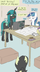 Size: 720x1280   Tagged: safe, artist:happy harvey, queen chrysalis, shining armor, oc, oc:anon, oc:filly anon, earth pony, pony, unicorn, blackmail, cheetos, coaster, colored, corn, corndog, dialogue, dice, dork, dorkalis, drawn on phone, dungeons and dragons, fantasy, female, figurine, filly, food, gaming miniature, male, map, miniature, nervous, roleplaying, sausage, stallion, tabletop game