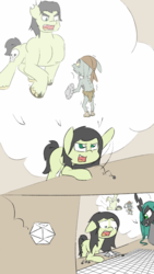 Size: 720x1280 | Tagged: safe, artist:happy harvey, queen chrysalis, oc, oc:anon, oc:filly anon, changeling, changeling queen, earth pony, goblin, pony, 1, bandana, barbarian, buff, charge, clothes, critical failure, critical miss, dice, dork, dorkalis, drawn on phone, dungeons and dragons, eyebrows, fail, failure, female, filly, floppy ears, gap teeth, horrified, imagination, killer dm, muscles, no pupils, rage, rolling, scared, shaking, shield, sword, tabletop game, unshorn fetlocks, weapon