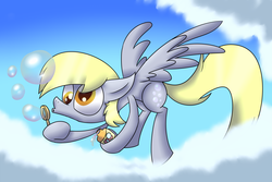Size: 2743x1828 | Tagged: artist:supercoco142, blowing bubbles, bubble, bubble blower, bubble wand, cloud, derpy hooves, female, flying, mare, pegasus, pony, safe, solo