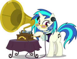Size: 1570x1200 | Tagged: a hearth's warming tail, artist:seahawk270, clothes, cutie mark, dj pon-3, female, glasses, gramophone, hooves, horn, mare, phonograph, pony, safe, simple background, smiling, solo, stethoscope, sunglasses, table, table cloth, transparent background, unicorn, vector, victorian, victrola scratch, vinyl scratch