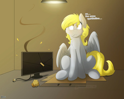 Size: 3000x2400 | Tagged: safe, artist:fluffyxai, derpy hooves, pegasus, pony, bandaid, cheek fluff, chest fluff, colored pupils, computer, derpy hooves tech support, female, food, i just don't know what went wrong, mare, monitor, muffin, russian, solo, translated in the comments