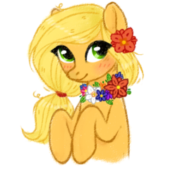 Size: 489x493 | Tagged: safe, artist:wollieni, applejack, blushing, bust, female, flower, flower in hair, flower necklace, missing accessory, portrait, simple background, solo, white background
