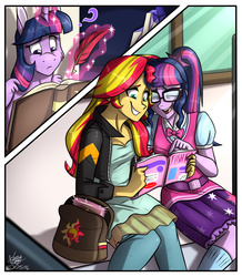 Size: 1512x1731 | Tagged: safe, artist:namygaga, sci-twi, sunset shimmer, twilight sparkle, equestria girls, adventure in the comments, backpack, counterparts, female, lesbian, love triangle, magazine, magic, magical trio, quill, scitwishimmer, shipping, sunset twiangle, sunsetsparkle, twilight sparkle (alicorn), twilight's counterparts, twolight
