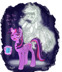 Size: 736x857   Tagged: safe, artist:jowybean, applejack, spirit of hearth's warming past, twilight sparkle, alicorn, earth pony, ghost, pony, twijack weekly, a hearth's warming tail, annoyed, bed mane, female, lesbian, magic, mare, messy mane, mug, open mouth, shipping, smiling, telekinesis, tired, twijack, twilight is not amused, twilight sparkle (alicorn), unamused