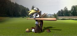 Size: 1573x746 | Tagged: safe, artist:hectorny, derpy hooves, pegasus, pony, 3d, baseball, baseball bat, baseball cap, baseball glove, daz studio, female, food, hat, mare, muffin, solo