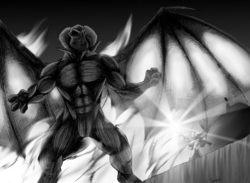 Size: 2789x2044 | Tagged: safe, artist:quynzel, dragon lord torch, star swirl the bearded, balrog, dragon, anthro, black and white, grayscale, lord of the rings, monochrome, nudity, parody, size difference, you shall not pass