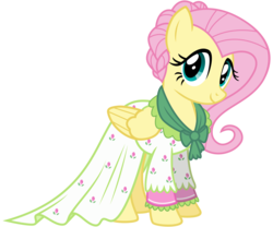 Size: 3600x3000 | Tagged: safe, artist:cheezedoodle96, flutterholly, fluttershy, pegasus, pony, a hearth's warming tail, .svg available, clothes, cute, dress, female, looking at you, mare, shyabetes, simple background, solo, svg, transparent background, vector, victorian
