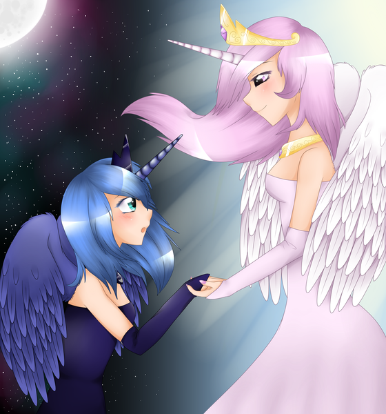 Size: 1024x1097 | Tagged: artist:kitsunewolf95, holding hands, horned humanization, human, humanized, nail polish, princess celestia, princess luna, s1 luna, safe, stars, winged humanization