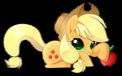 Size: 2472x1540 | Tagged: safe, artist:haydee, applejack, apple, chibi, cute, daaaaaaaaaaaw, female, food, hat, hnnng, jackabetes, looking at you, obligatory apple, prone, simple background, solo, transparent background